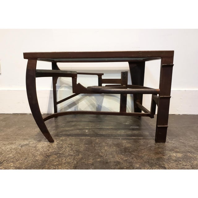 Metal Artisan Crafted Iron and Glass Table Postmodern Brutalist For Sale - Image 7 of 8