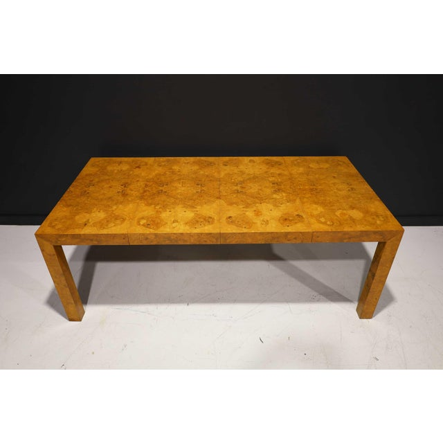 Milo Baughman Olivewood Burl Parsons Dining Table For Sale - Image 13 of 13