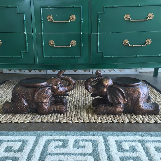 Large Elephant Trunks Up Pillar Candle Holders/Planter Stands - Set of 2 - Image 2 of 11