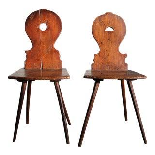 19th Century Swiss Alpine Folk Art Chairs - a Pair For Sale