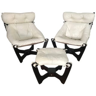 """Pair of Odd Knutsen """"Luna"""" Sling Lounge Chairs and Footstool For Sale"""