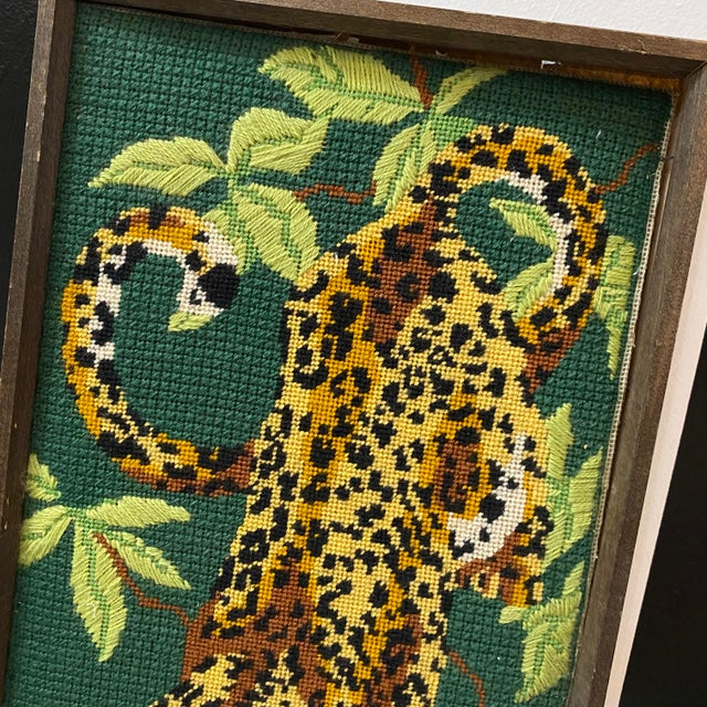 1970s 1970's Vintage Mid-Century Modern Cross Stitched Leopard Art For Sale - Image 5 of 10