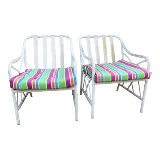1960's Basket Weave Aluminum Chairs - a Pair For Sale