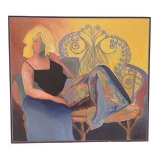 Vintage Portrait of a 1970s Lounging Lady in Denim Skirt Signed Sara For Sale
