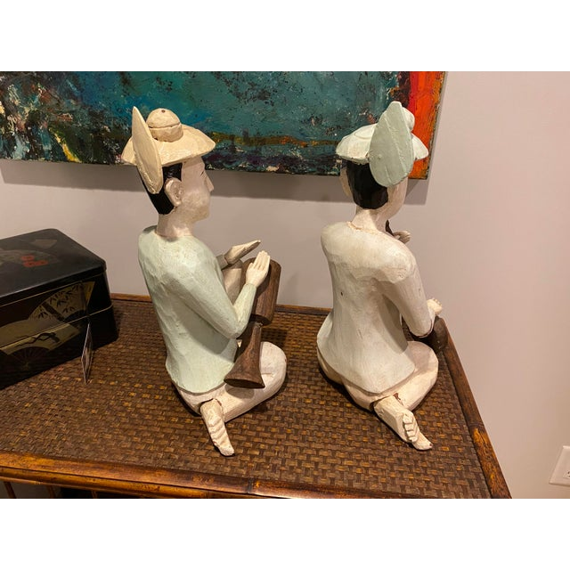 Wood Thailand Wooden Musician Figurines - a Pair For Sale - Image 7 of 8