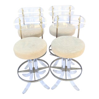 Vintage 1970's Hill Manufacturing Acrylic Bar Stools - Set of 4
