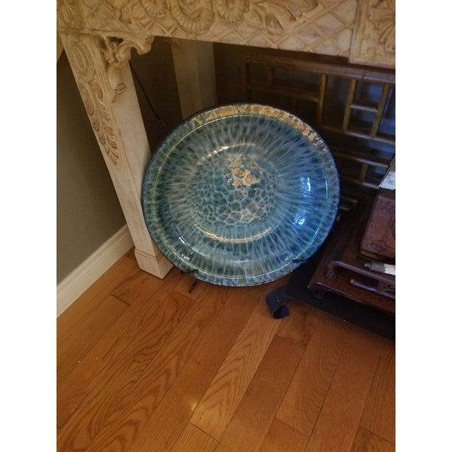 Oversized Decorative Plate on Wrought Iron Display Base - Image 3 of 4