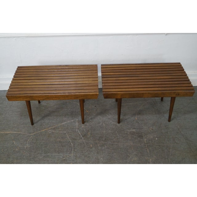 Mid-Century Modern Slat Tables / Benches - Pair - Image 6 of 10