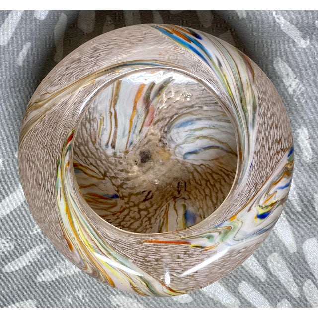 1960s 1960s Vintage Art Glass Rainbow Pink & White Catchall Decorative Bowl For Sale - Image 5 of 7