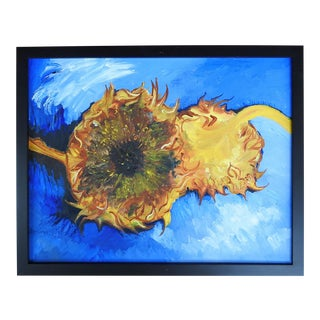 Sunflowers on Blue Painting For Sale