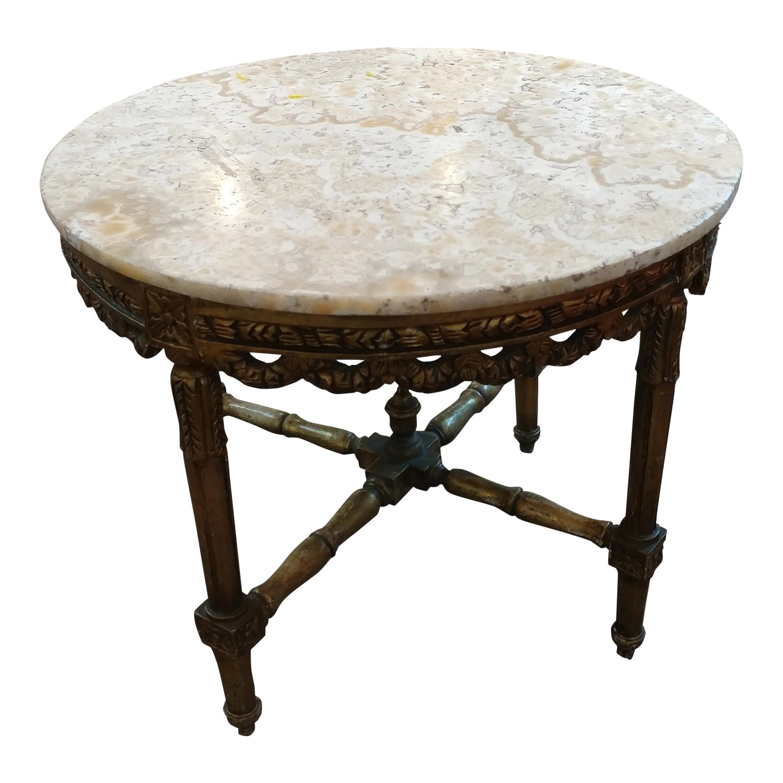 Marble Topped Gilt Coffee Table C 1920: 19th Century Louis XV Carved Gilt & Marble Top Coffee