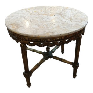 19th Century Louis XV Carved Gilt & Marble Top Coffee Table For Sale