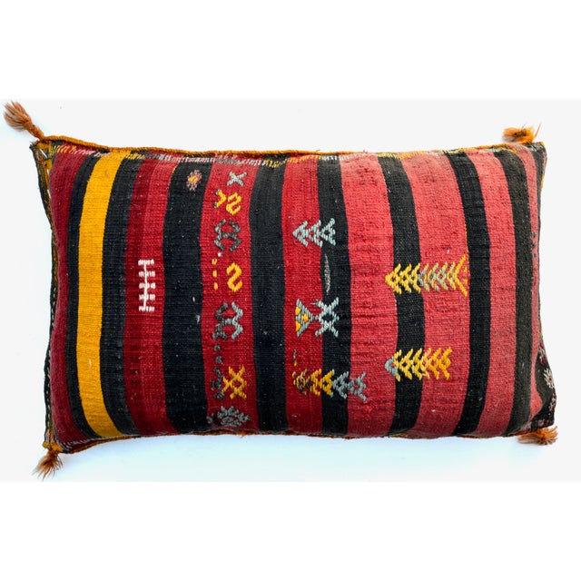Lovely Turkish wool kilim pillow with geometric design made from a vintage 1940-50s Turkish traveling bag, both sides...