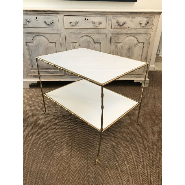 White Maison Bagues Faux Bamboo Table With White Glass Top For Sale - Image 8 of 11