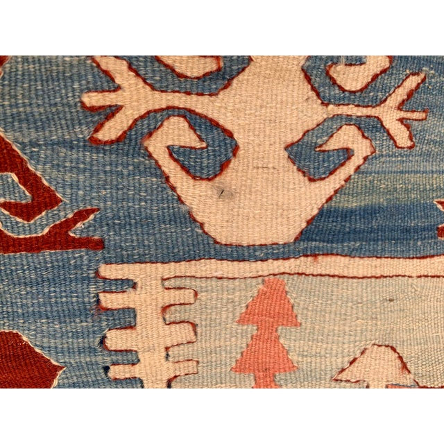 Textile Blue and Coral Kilim Rug- 3′8″ × 5′2″ For Sale - Image 7 of 10