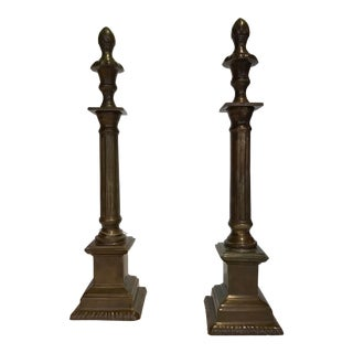 Vintage Neoclassical Brass Columns - a Pair For Sale