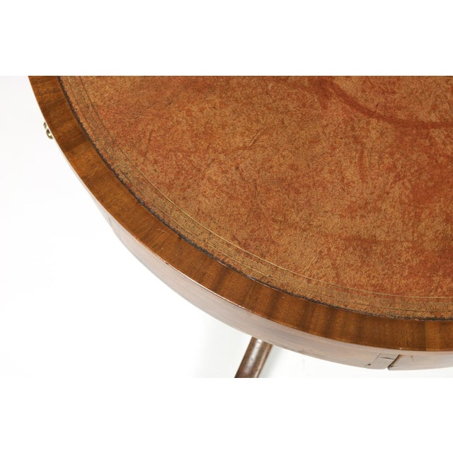 Early 19th Century Regency Period Mahogany Drum Table With Embossed Leather Inset and Lion Paw Casters, English Circa 1820 For Sale - Image 5 of 9