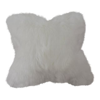 White Faux Fur Pillow Cover For Sale