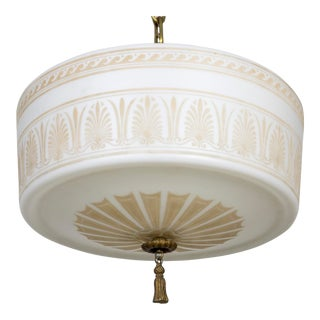 Antique White Milk Glass Pendant With Painted & Etched Neoclassical Patterns For Sale