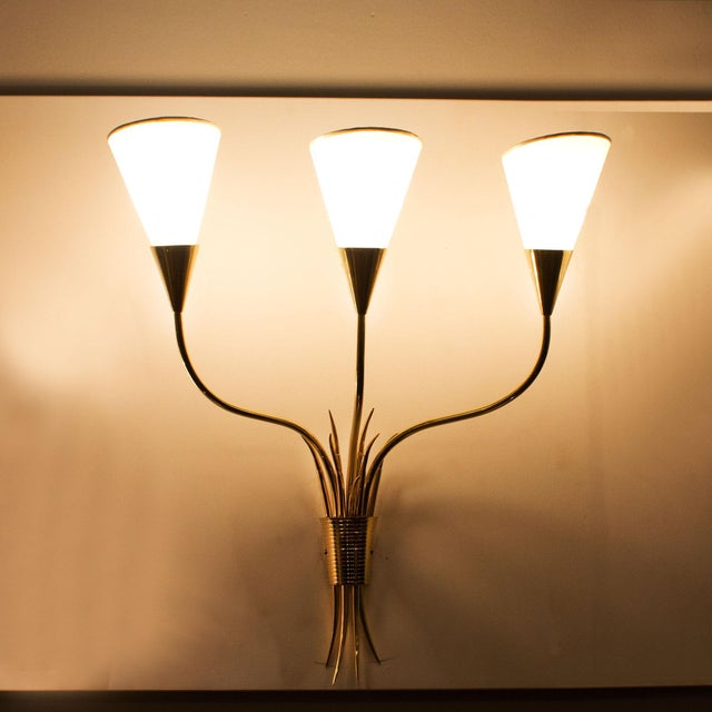Mid-Century Modern 1955-1960 Pair of Wall Lights, Polished Brass, Celluloid Lampshades - France For Sale - Image 3 of 6