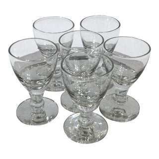 Mid-Century Modern Crystal Cordials with Tray - 8 Piece Set For Sale