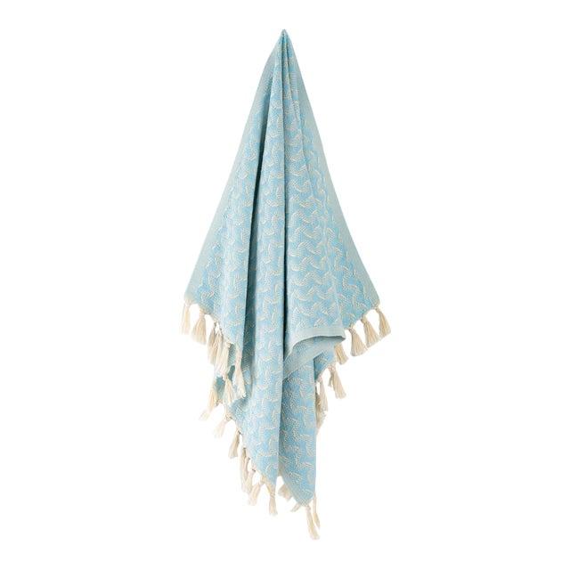 Silent Ripple Handmade Organic Cotton Hand Towel in Powder Blue For Sale