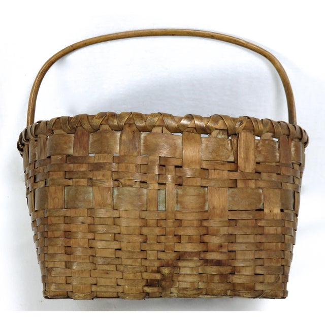 Brown 20th Century Rustic Maine Woven Basket For Sale - Image 8 of 13
