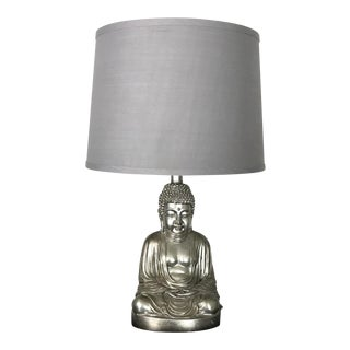 Silver Finish Sitting Buddha Lamp With Grey Shade For Sale