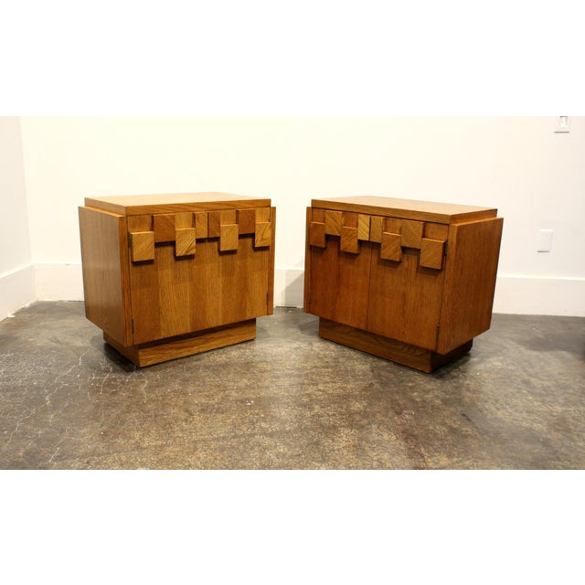 Yellow Pair of Oak 1970s Mid-Century Modern Brutalist Nightstands by Lane For Sale - Image 8 of 9