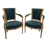 Image of Late 19th Century Louis XVI Velvet Bergere Chairs- A Pair For Sale