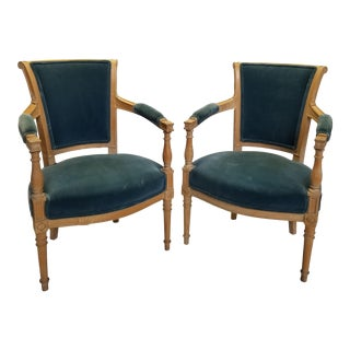 Late 19th Century Louis XVI Velvet Bergere Chairs- A Pair For Sale