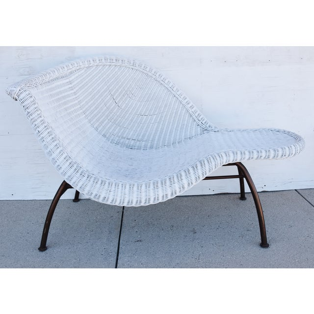 Vintage Modernistic Asymmetric Woven Wicker Chaise Lounge For Sale - Image 12 of 13