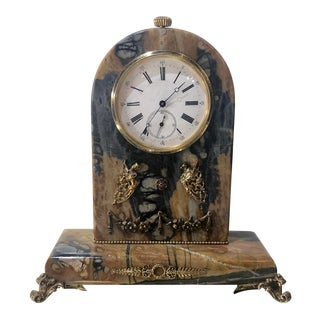Antique Russian Gold Ruby & Marble Swiss Clock For Sale