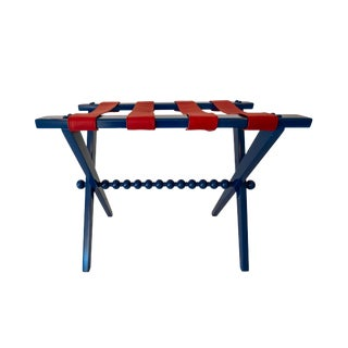 Wood and Leather Luggage Rack in Blue and Red For Sale