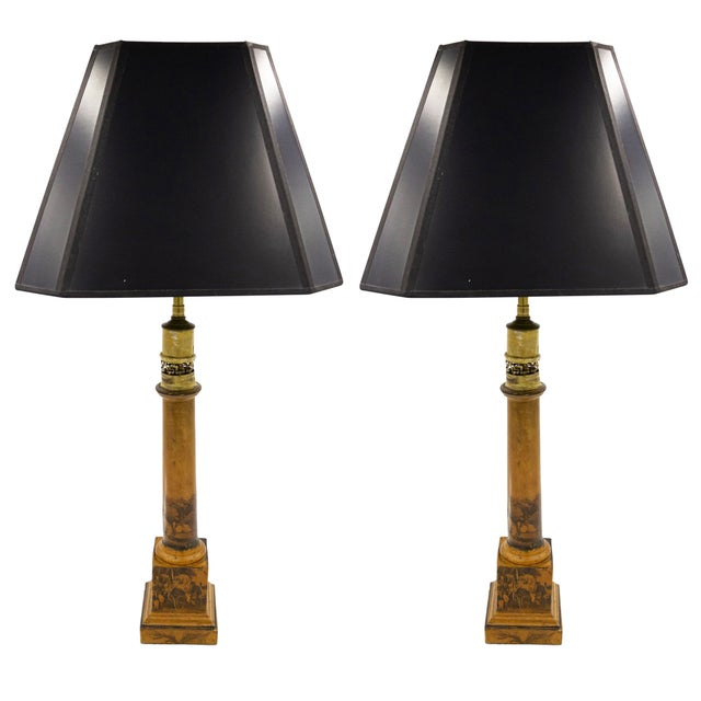 French Charles X Mustard Tole Table Lamps For Sale - Image 4 of 4