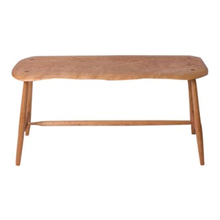 Bespoke Mid-Century Modern Style Natural Wood Bench