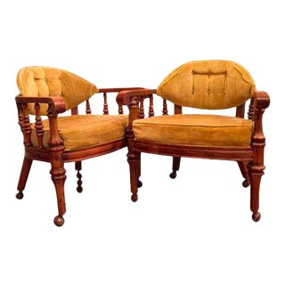 Vintage Tufted Chairs on Casters - a Pair For Sale
