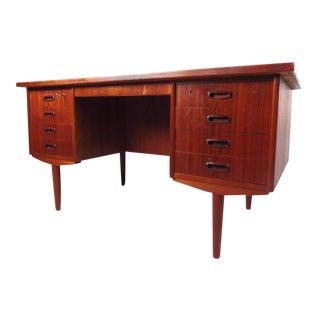 Teak Mid-Century Modern Eight-Drawer Desk For Sale