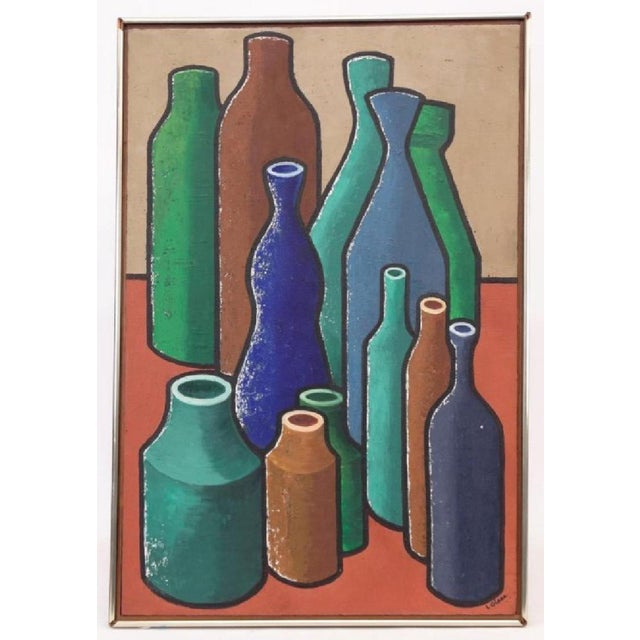 Mid 20th Century Abstract Oil Painting of Bold Colorful Bottles by L Glass For Sale - Image 5 of 5