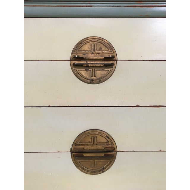 Asian Inspired Mid-Century Modern Solid Wood Bachelor Chest of Drawers For Sale In Los Angeles - Image 6 of 13
