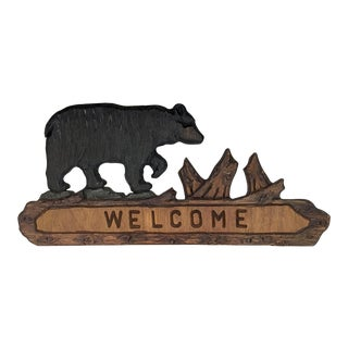 Large Adirondack 'Welcome' Wood Sign For Sale