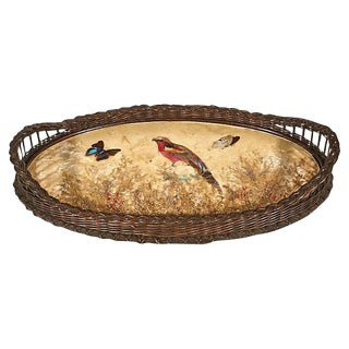 Bird & Butterfly Wicker Serving Tray For Sale