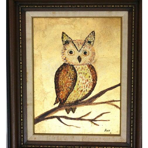1960s Framed Golden Owl Painting - Image 3 of 5