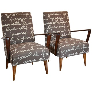 "Mid-Century ""Z"" Lounge Chairs With Felted French Script, Pair For Sale"