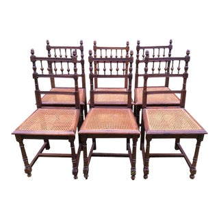 French Dining Chairs With Cane Seats, Set of 6