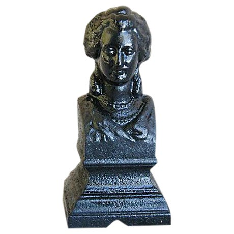 Antique 19th C. French Iron Female Bust Fragment - Image 1 of 7