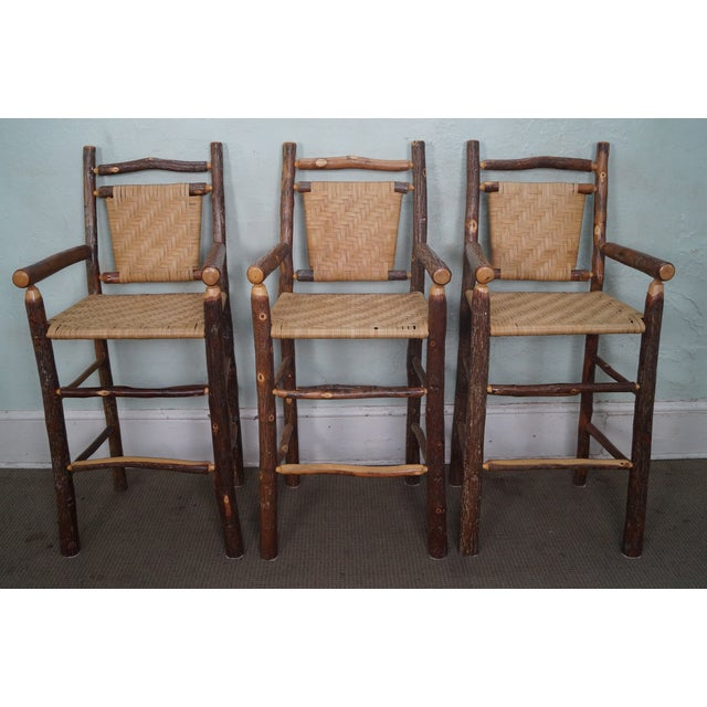 Old Hickory Rustic Barstools - Set of 3 - Image 2 of 10