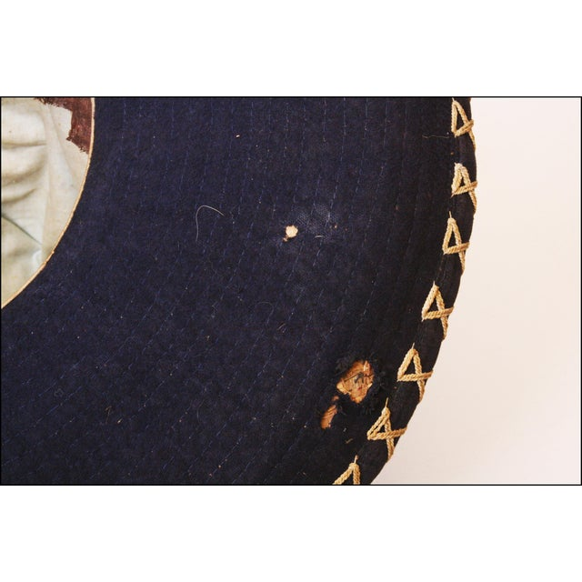 Early Mexican Navy Blue Embroidered Sombrero - Image 11 of 11