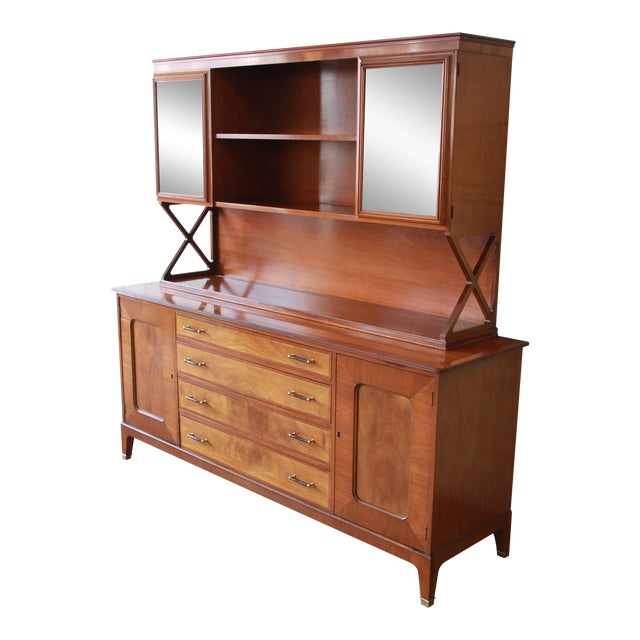 Renzo Rutili for Johnson Furniture Co. Mid-Century Modern Sideboard Credenza with Hutch Top For Sale