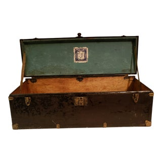 Antique Henry Pollack Trunk Co. Polly Brand Metal Case For Sale